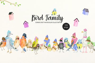 Bird Family Watercolor Illustration