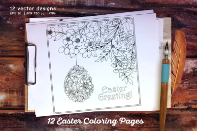 12 Coloring Page set
