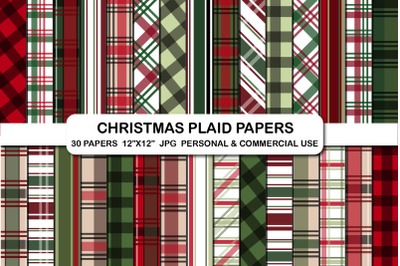 Christmas plaid digital papers, Stripped pattern papers set