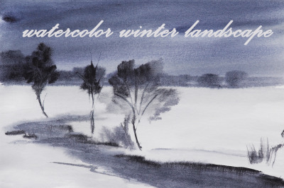 watercolor nature and landscape winter. snow and tree