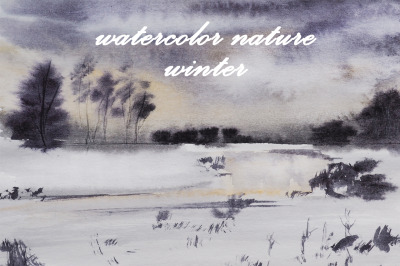 watercolor nature and landscape winter. tree and new year