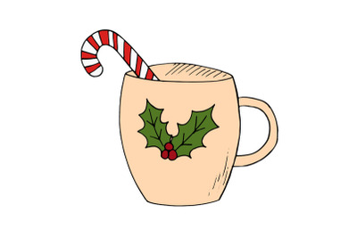 winter drink with candy cane holly christmas