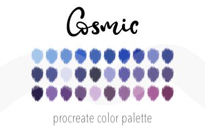 Cosmic color palettefor Procreate. 30Swatchesfor digital art.