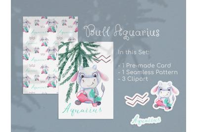 Watercolor Aquarius Zodiac Bull Clipart