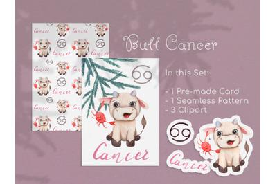 Watercolor Cancer Zodiac Bull Clipart