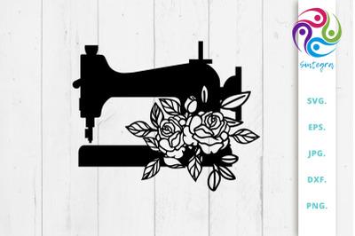 Floral Sewing Machine Svg Cut File