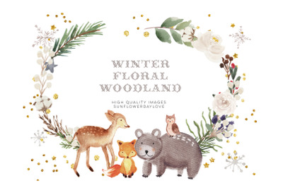 Frame Watercolor Winter Woodland, Christmas Animal Clipart