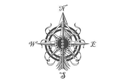 Navigation Compass and Indian Arrow Tattoo