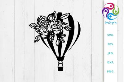 Floral Hot Air Balloon Svg File