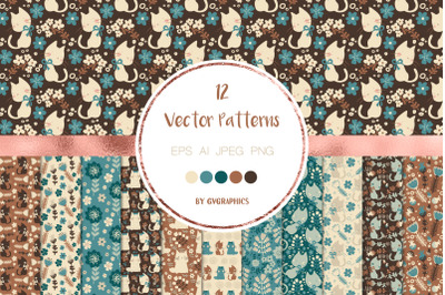 12 Cats and Flowers Vector Patterns and Seamless Tiles