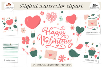 Valentines clipart collection. Digital watercolor, seamless patterns