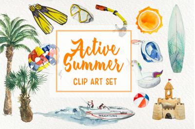 Active Summer - Watercolor Clip Arts