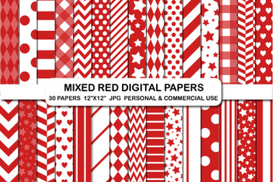 Mixed red digital papers, Stripes hearts chevron paper pack