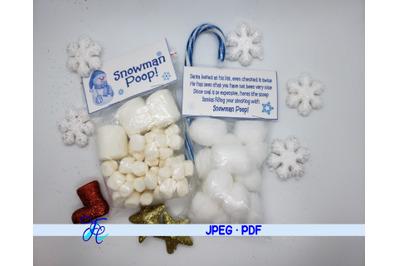 Snowman Poop! Label
