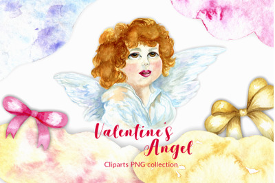 Valentine's day clipart with angel. 15 PNG watercolor elemens