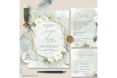 SIMY - White Roses Eucalyptus Greenery Gold Wedding Invitaitons Suite