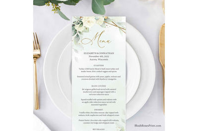 SIMY - Editable Wedding Menu Template Eucalyptus Greenery White Roses