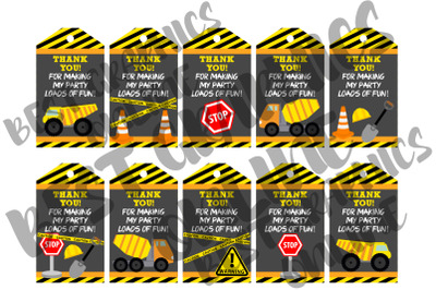 Construction Printable Party Favor Tags