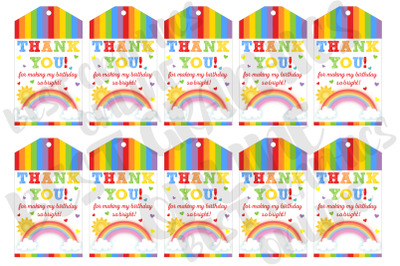 Rainbow Printable Party Favor Gift Tags