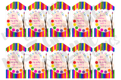 Art Party Printable Party Favor Tags