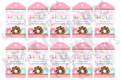Donut Party Printable Party Favor Tags