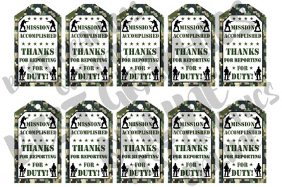 Camo Soldier Birthday Party Gift Tags