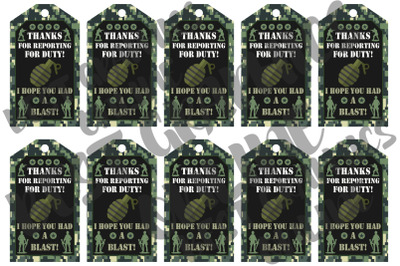 Army Soldier Birthday Party Gift Tags