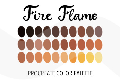 Fire Flame color palette for Procreate. 30 Swatches for iPad art.