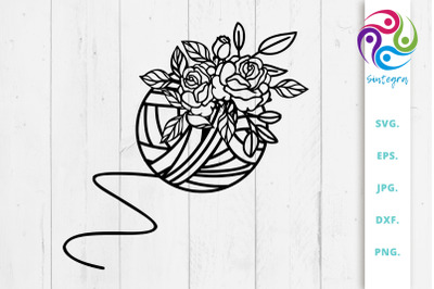 Floral Yarn Thread Svg File