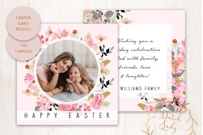 PSD Easter Photo Card Template #1