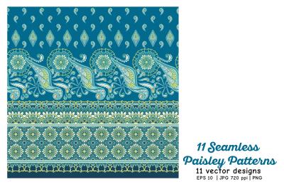 11 Paisley Seamless Patterns