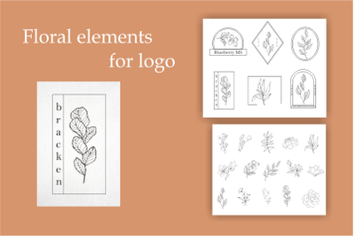 Floral elements for logo- design templates