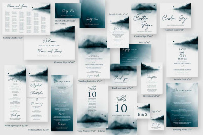Editable Wedding Invitation Bundle Templates Winter Forest Green Grey