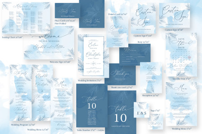 Dusty Blue Wedding Bundle Editable Templates DIY