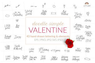 Valentines doodle lettering bundle