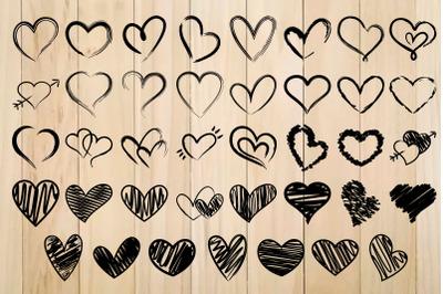 Distressed Heart SVG, Heart Svg Bundle, Doodle Hearts, Scribble Heart, Hearts Svg, Hand Drawn Heart SVG, Valentine Days Svg, Grunge Hearts