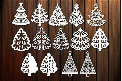 Christmas Tree Silhouette Bundle for Vinyl and Laser Cutting and More
