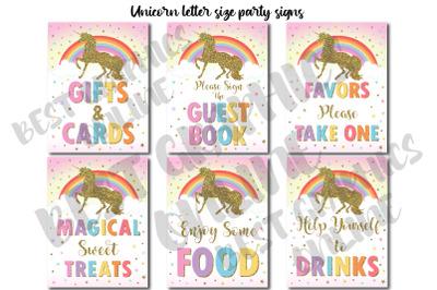 Magical unicorn birthday party sign, Rainbow unicorn sign