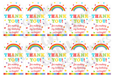 Rainbow birthday party favor tags, Printable gift tags