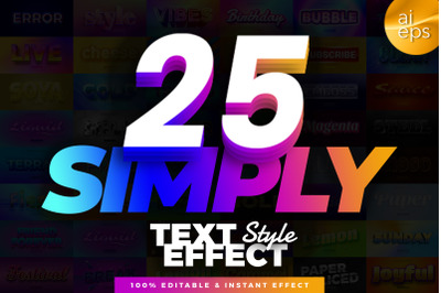 25 in 1 Bundle Multipurpose Text Effect Style
