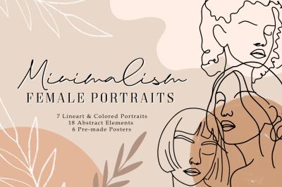 Minimalism Female Portraits Abstract Illustration