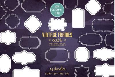 Vintage Frames Double White | Decorative Border | Retro Labels