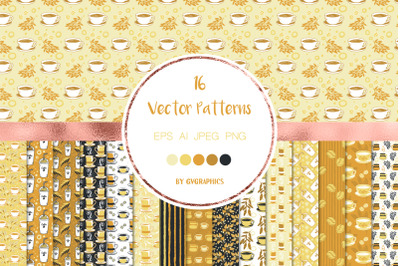 16 Time for Coffee Vector Patterns and Seamless Tiles