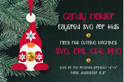Candy Holder Christmas Ornament Nordic Gnome SVG