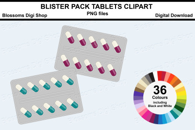 Blister pack tablets Sticker Clipart, 36 files, multi colours