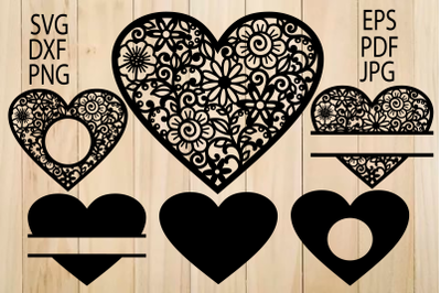 Hearts SVG, Lace Heart SVG,Mandala Heart svg, Decal, Intricate Heart,