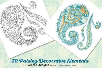 30 Paisley elements