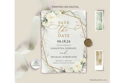 SIMY - Editable Save the Date Cards Template White Roses Greenery