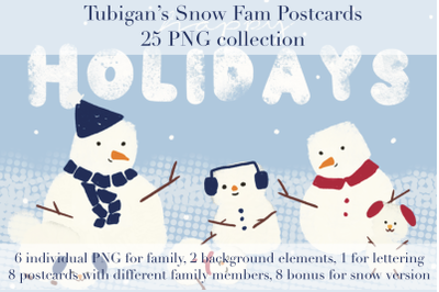 Snow Family Postcards
