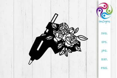 Craft Glue Gun with Flowers Svg File